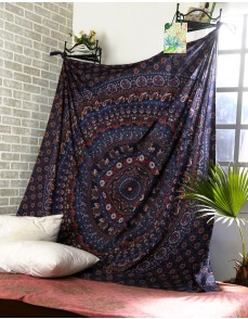 Cotton Blue Printed Mandala Tapestry