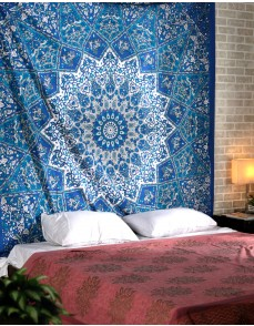 Kaleidoscopic Star Tapestry Intricate Floral Design Indian Bedspread, Decorative Wall Hanging, Picnic Beach Sheet
