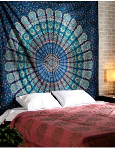 Multi-colored Mandala Tapestry Indian Wall Hanging, Bedsheet, Coverlet Picnic Beach Sheet , Superior Quality Hippie Wall Tapestry or Bedspread in Organic Cotton Tree of Life