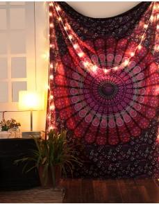 Pink & Purple Mandala Indian Tapestry, Hippie Wall Hanging , Bohemian Bedspread, Mandala Cotton Dorm Decor Beach Blanket