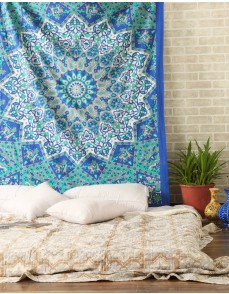 Twin Hippie Star Tapestries , Psychedelic Tapestry ,Sun and Moon Tapestry,star Mandala Tapestries, Throw Bedspread Queen Bed Dorm Décor By Rajrang