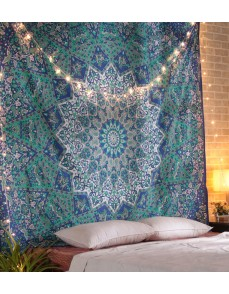 Blue Mandala Tapestry, Mandala tapestries, Indian Bedspread, Mandala Wall Hanging