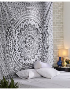Exclusive Gray Ombre Tapestry Mandala Tapestry, Queen, Multi Color Indian Mandala Wall Art, Hippie Wall Hanging, Bohemian Bedspread