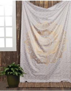 Golden Color Ombre Mandala Tapestry , Indian Bohemian Bedspread, Wall Hanging Mandala Tapestry