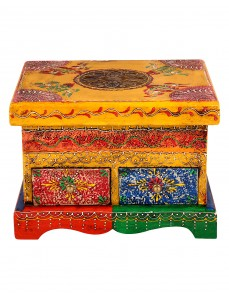Yellow Metal Wood Two Drawers Painted Box