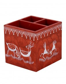 Animal Hand Painted Cornell Red MDF Wood Pen Holder