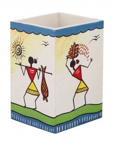 Tribal Hand Painted White MDF Wood Pen Holder