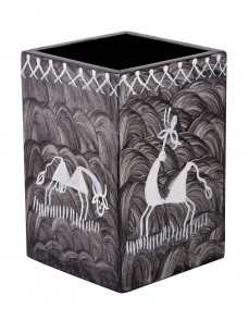 Animal Hand Painted Black MDF Wood Pen Holder