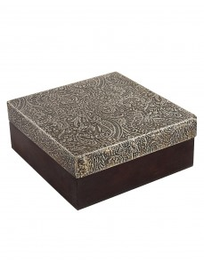 Paisley Embossed Coffee Wood And Metal Box