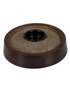 Paisley Embossed Brown Wood And Metal Candle Holder