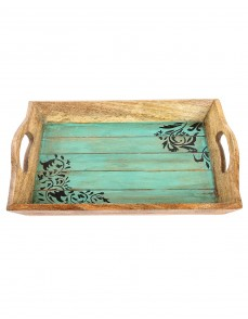 Floral Hand Painted Brown Wood Tray