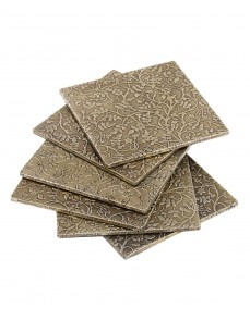 Floral Embossed Natural Wood And Metal Coasters (Set Of 6 Pcs)
