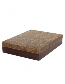 Floral Embossed Coffee Wood And Metal Box