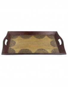 Floral Embossed Dark Brown Wood And Metal Tray