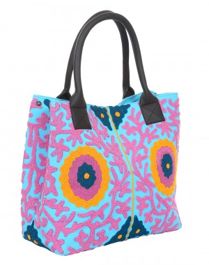 Embroidered Aqua Blue Floral Canvas Tote Bag