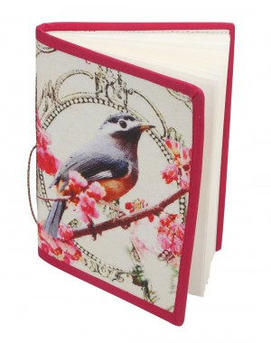 Gift Hand Made Paper & Cotton Printed Bird  Pink Diary