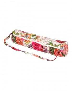Handmade Yoga Mat Bag White Fruit Kantha Work Cotton