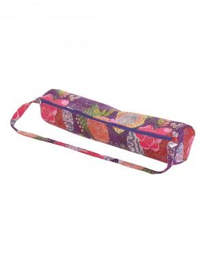 Designer Yoga Mat Bag Violet Fruit Kantha Work Cotton