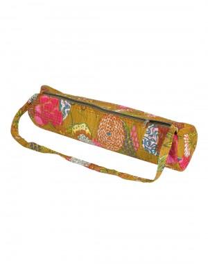 Attractive Yoga Mat Bag Olive Green Fruit Kantha Work Cotton For Women