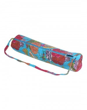 Beautiful Yoga Mat Bag Turquoise Fruit Kantha Work Cotton