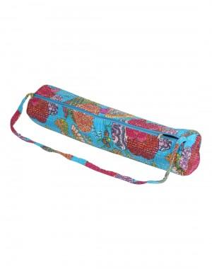 Beautiful Yoga Mat Bag Turquoise Fruit Kantha Work Cotton