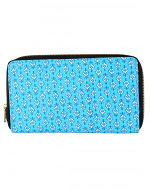 Stylish Cotton Turquoise Clutch Bag Floral Printed For Womens By Rajrang