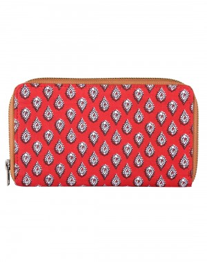 Nice Looking Cotton Red Clutch Bag Leaves Printed For Womens By Rajrang