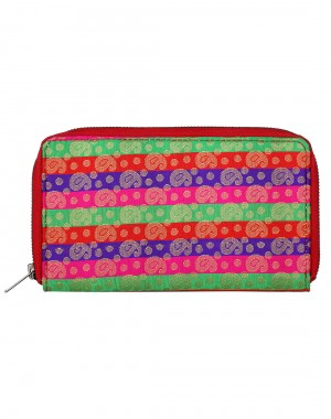 Traditional Brocade Green Clutch Bag Paisley Self Weaved Ladies By Rajrang