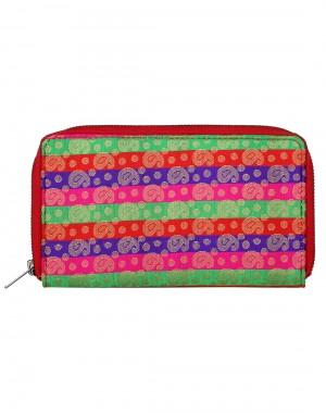 Traditional Brocade Green Clutch Bag Paisley Self Weaved Ladies By Rajrang