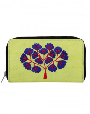 Indian Cotton Green Clutch Bag Tree Embroidered For Women's By Rajrang