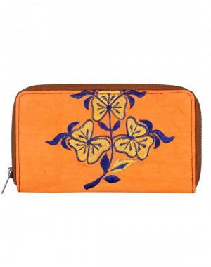Fashionable Cotton Orange Clutch Bag Floral Embroidered Ladies By Rajrang