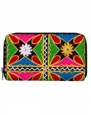 Online Cotton Black Clutch Bag Floral Embroidered For Womens By Rajrang