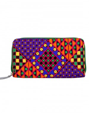 Attractive Cotton Blue Clutch Bag Geometric Embroidered For Women By Rajrang