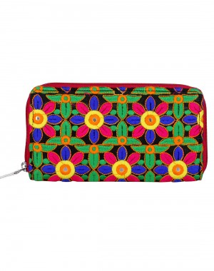 Trendy Cotton Green Clutch Bag Floral Embroidered Ladies By Rajrang