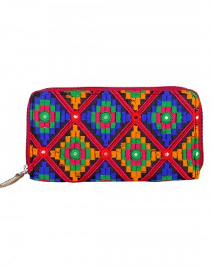 Stylish Cotton Orange Clutch Bag Geometric Embroidered For Womens By Rajrang