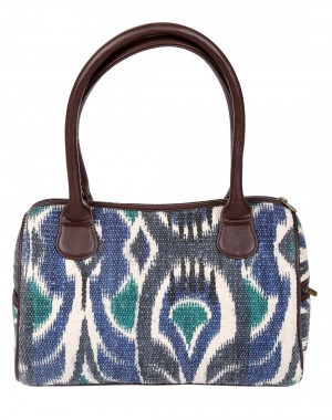 Ikat Hand Block Printed Off White Faux Leather Hand Bag
