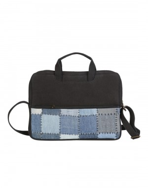 Patch Work Checkered Blue Cotton And Denim Laptop Bag