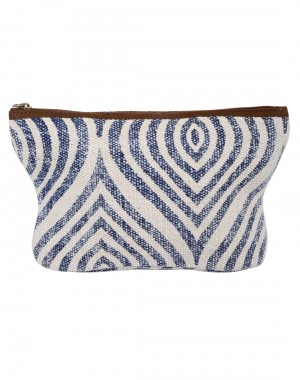 Ogee Hand Block Printed Cotton And Durrie White Pouch