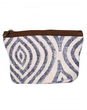 White Hand Block Printed Ogee Cotton And Durrie Pouch