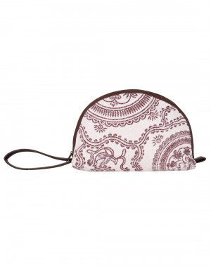 Floral Hand Block Printed White Cotton And Durrie Pouch