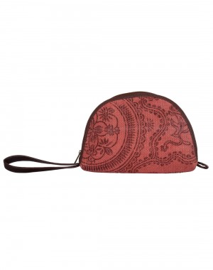 Floral Hand Block Printed Cotton And Durrie Marsala Pouch