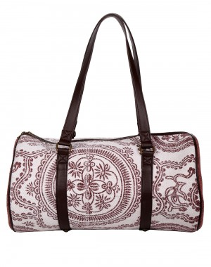 Floral Hand Block Printed White Faux Leather Duffel bag