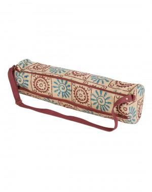 Online Jute & Cotton Beige Yoga Mat Bag Floral Hand Block Printed For Womens