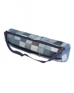 Casual Yoga Mat Bag Cotton & Denim Blue Patchwork Checkered