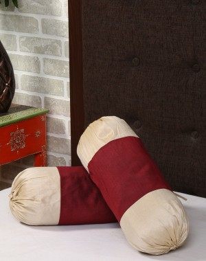 Solid Yarn Dyed Maroon Polydupion Bolster Cover (Set Of 2 Pcs)
