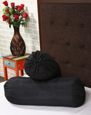 Solid Yarn Dyed Black Polydupion Bolster Cover (Set Of 2 Pcs)