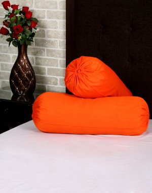 Solid Yarn Dyed Orange Polydupion Bolster Cover (Set Of 2 Pcs)