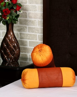 Solid Yarn Dyed Rust Polydupion Bolster Cover (Set Of 2 Pcs)