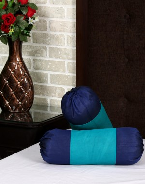 Solid Yarn Dyed Green Polydupion Bolster Cover (Set Of 2 Pcs)