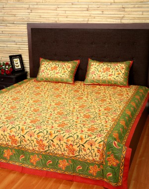 Floral Printed Straw Yellow Cotton Bed Sheet (Set Of 3 Pcs)